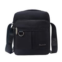 男包牛津布包单肩斜挎包男士包包休闲帆布包挎包小包公文包电脑包 竖款-黑色
