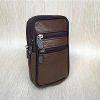 皮带包男包腰包钱包牛皮手机腰包穿皮带多功能竖款6寸真皮手机包 浅棕色 5.5寸深棕色
