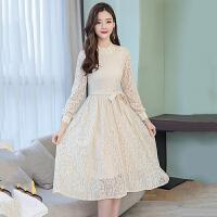 连衣裙 女士立领蕾丝高腰长袖连衣裙2020秋季新款韩版时尚女式修身洋气打底裙女装裙子