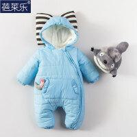婴儿连体衣服0岁3月满月宝宝新生儿衣服冬季冬季棉衣外出服