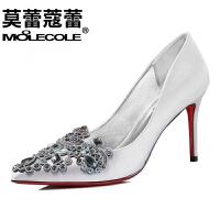 莫蕾蔻蕾2016新款高跟鞋尖头休闲女鞋韩版水钻防水台细跟单鞋6Q316