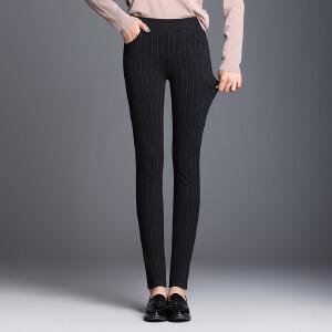 秋季黑白条纹紧身弹力高腰显瘦铅笔裤子加肥大码小脚裤女