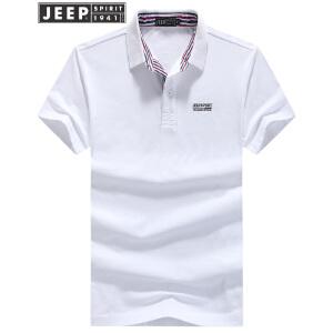JEEP吉普男士短袖POLO衫男装夏季翻领纯色T恤男士商务休闲纯棉半袖T恤