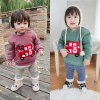 17冬季婴幼儿童开肩扣加绒上衣宝宝保暖卫衣圣诞卡通小汽车369月