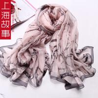 上海故事真丝方巾春秋女士 丝巾重磅桑蚕丝大方巾百搭丝巾披肩