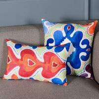 奇居良品 客厅沙发床头方枕腰枕靠垫抱枕套 波普抽象印象系列