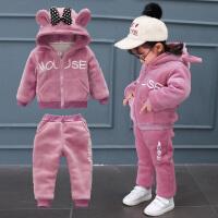 女童金丝绒两件套装加绒1女宝宝冬装2衣服洋气冬季3岁韩版潮