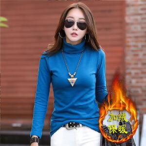 加绒加厚女装韩版纯棉T恤女长袖t恤女休闲时尚打底衫女式长袖衫