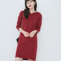 秋冬新款加厚连帽中长款山羊绒衫女韩版毛衣羊毛衫打底裙