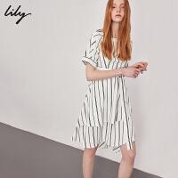 【25折到手价:179元】 Lily春新款女装不对称系腰带短袖条纹连衣裙118300C7693