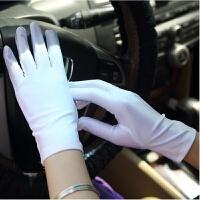 春秋夏季薄款白色礼仪手套黑弹力紧身氨纶手套男女运动会体操表演 均码
