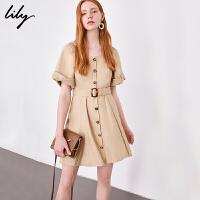 【6/4-6/8 一口价:199元】 Lily春女装浅卡其色前排扣短袖系腰带连衣裙118300C7683