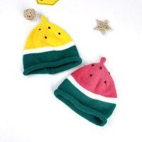 户外儿童西瓜帽保暖宝宝尖尖毛线帽男女童水果针织帽小孩帽萌款