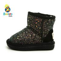 【2.5折价59元】芭芭鸭儿童雪地靴2019冬季新款加绒加厚冬鞋男童中筒靴子女童鞋子