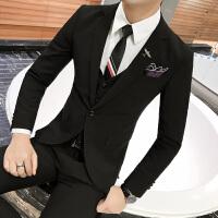 男士西服套装韩版商务休闲职业正装个性潮男西装三件套发型师男装