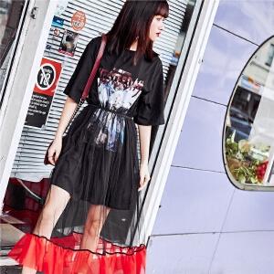 七格格 sukol裙少女网纱连衣裙女夏装2018新款韩版套装裙假两件t恤裙子夏