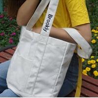 女包大包韩版复古撞色肩带刺绣字母休闲单肩包旅行包妈咪包托特包