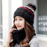 女士甜美可爱围脖一体防寒帽子 韩版百搭时尚针织帽 户外保暖毛线帽子防寒