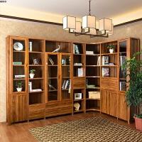 书柜书架 实木转角书柜 中式玻璃门储物柜单门双门大书橱书房具 0.6米以下宽