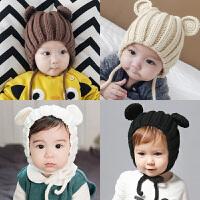 韩版婴幼儿男女宝宝秋冬毛线帽子防寒帽新款春潮 熊耳朵宝宝帽