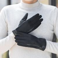 韩版暖男麂皮绒手套户外保暖加绒薄款皮手套 骑行摩托车防水手套开始男士手套