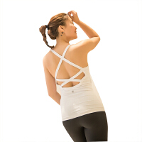 上衣瑜伽服上衣运动背心女交叉性感带胸垫跑步美背健身服d 白色 性感交叉肩带