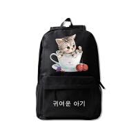 中学生书包女生可爱双肩包背包校园 韩版2018初中生 黑色 杯猫白樱桃z