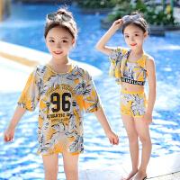 儿童泳衣女中大童三件套游泳衣女孩宝宝分体可爱泳装夏