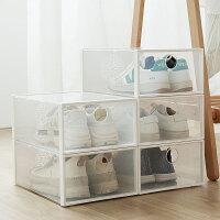 新品冲量可叠加透明鞋盒家用抽屉式简易宿舍鞋柜收纳盒整理箱塑料