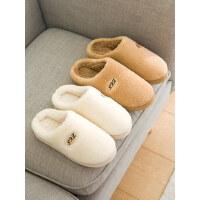 韩家居保暖毛毛拖鞋男包跟棉拖鞋女冬季居家室内防滑家用厚底情侣
