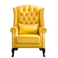 美式乡村黄色单人沙发老虎椅卧室阳台客厅小户型沙发椅高背椅
