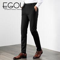 EGOU男休闲商务合体直筒长裤舒适经典时尚男士西裤休闲裤