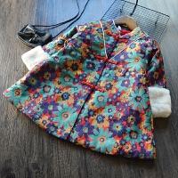 新年装儿童宝宝夹棉外套 女童复古唐装拜年服 冬款加厚棉衣裙子