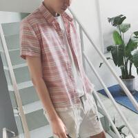 夏季新款男士时尚粉色格子衬衫青少年文艺百搭短袖潮衬衣