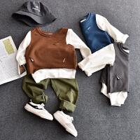 儿童T恤纯棉宝宝男童女童春季上衣童装长袖假两件体恤圆领打底衫