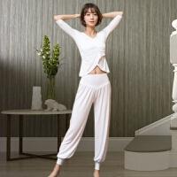 瑜伽服套装女秋季棉宽松灯笼裤白色舞蹈加大码练功服 瑜伽服套装