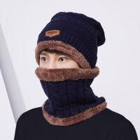 针织帽子男士 韩版潮简约防风保暖围脖套头毛线帽