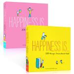 英文原版 Happiness Is 幸福是… 我爱爸爸 妈妈的200件事2本套装 心灵疗愈漫画幽默书籍