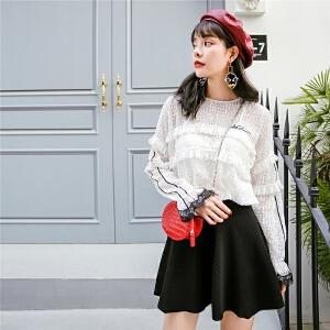 七格格 内搭蕾丝打底衫女长袖春装2018新款雪纺衫韩版百搭时尚仙雷丝上衣