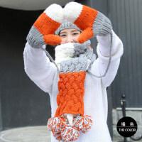 户外运动帽子女潮韩版毛线帽子围巾手套三件套装圣围巾围脖