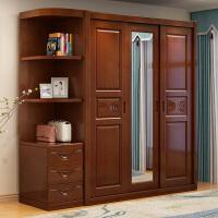 实木衣柜橡胶木现代简约新中式推拉滑移门3门带镜大衣橱卧室家具 4门 组装