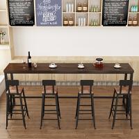 北欧复古实木吧台酒吧长条桌铁艺咖啡桌椅组合家用靠墙高脚小吧台 吧台桌300*40*105桌面5cm厚