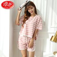 浪莎睡衣女夏套装可外穿薄款纯棉短袖短裤两件套韩版宽松家居服女