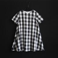 欧州站新款女童短袖夏装连衣裙D家黑白格子裙儿童小女孩A字大摆裙