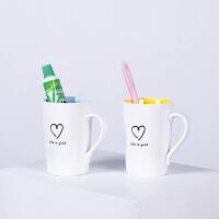 刷牙杯子陶瓷情侣牙杯创意家用口杯韩式牙刷杯套装欧式可爱漱口杯 内蓝外白+内黄外白 【2件套】