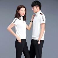 情侣装运动套装男夏季短袖T恤长裤两件套运动服套装女夏天跑步服
