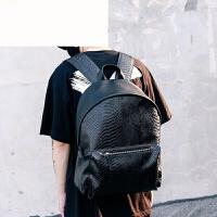 双肩包韩版潮流蛇纹时尚潮流旅行包男大学生书包大容量休闲PU背包