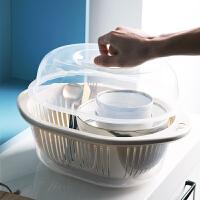 滴水碗盘置物架碗柜塑料厨房沥水碗架带盖碗筷餐具收纳盒放碗碟架