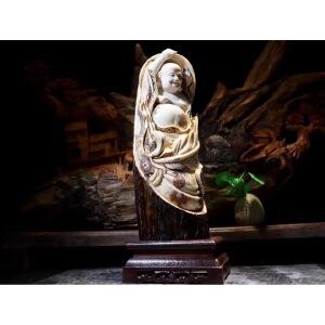 *收藏 猛犸象牙 《弥勒佛》摆件 大师作品