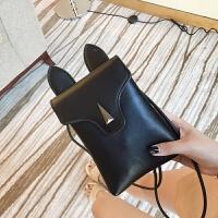 手机包女夏季新款迷你小包包斜跨包韩版单肩包卡通可爱学生包 黑色 质量保证
